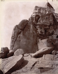 Closer view of rock with temple in the Ganges at Jangira, Bhagalpur District.